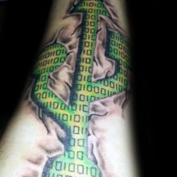 Green Usb Symbol Binary Mens Forearm Tattoos