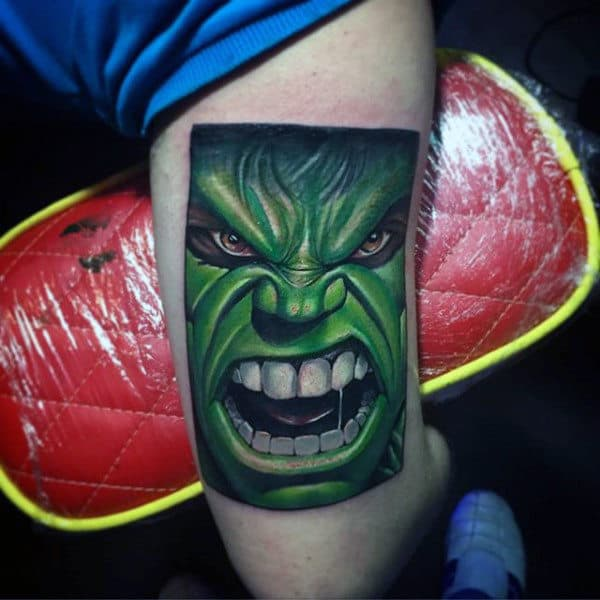 Green White Toothed Hulk Tattoo Male Forearms