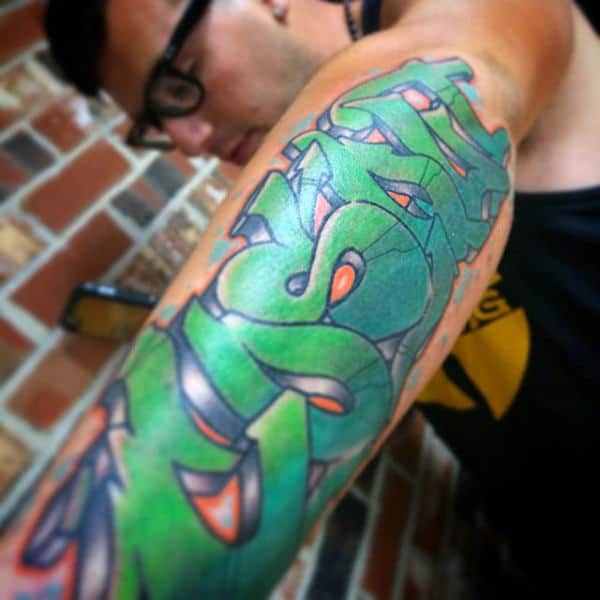 Green Wildstyle Words Graffiti Tattoo Design Ideas For Gentlemen