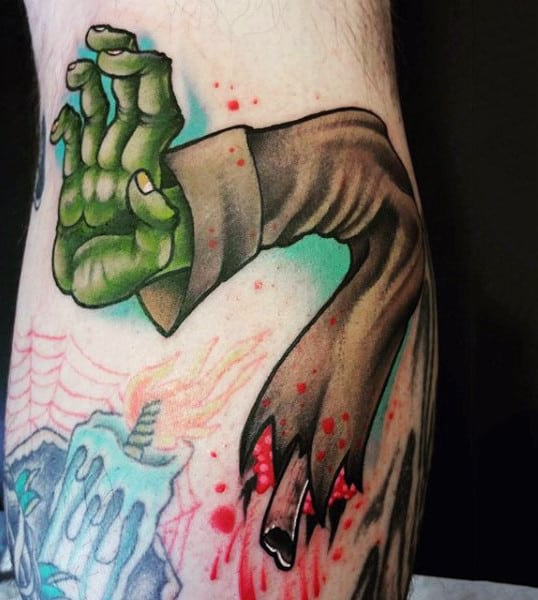 Green Zombie Hand With Broken Arm Bicep Tattoo For Guys
