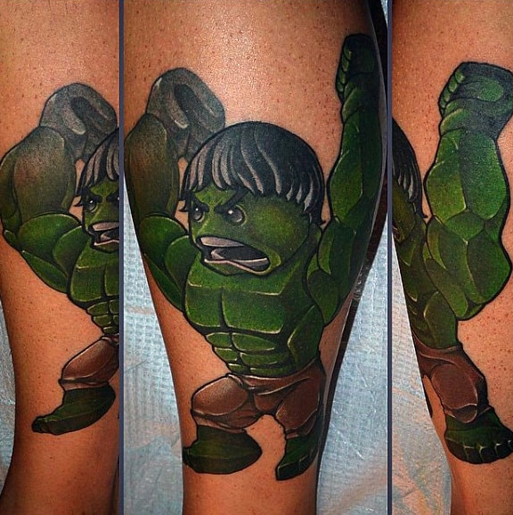 Greenie Monster New School Tattoo Male Forearm