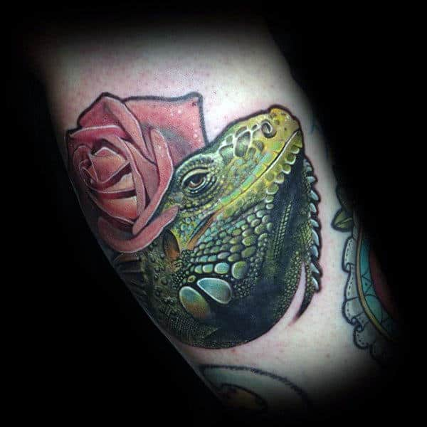 Greenish Lizard And Rose Tattoo For Men On Calves