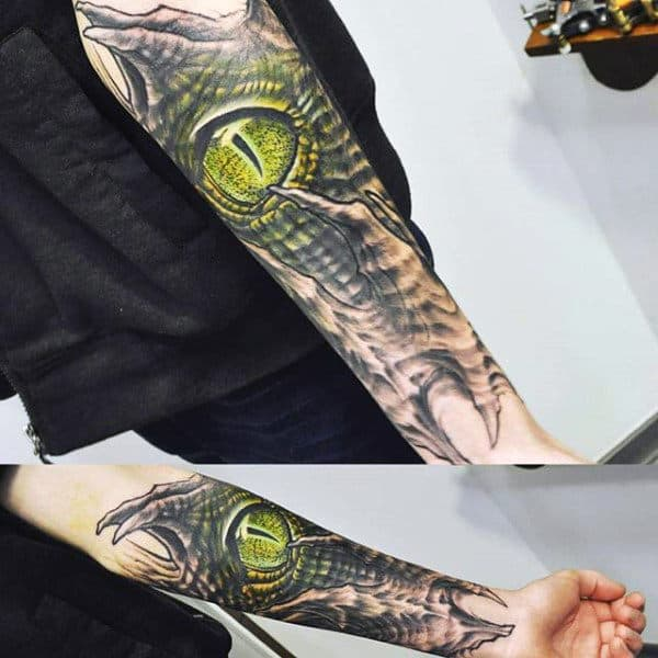 Greenish Reptile Eye Tattoo Mens Forearms