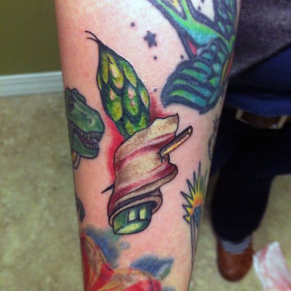 Greens In Bacon Tattoo Male Forearm