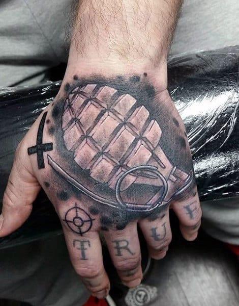 Grenade Army Mens Hand Tattoos