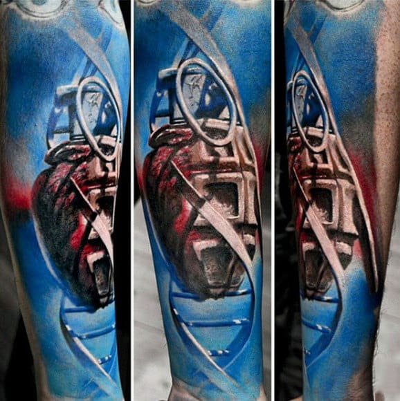 Grenade Dna Stand Sleeve Tattoos For Males