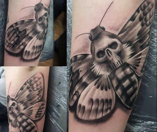 Grenade Moth Mens Shaded Forearm Tattoos