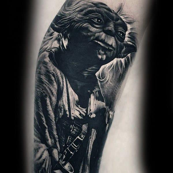 Grey Alien Star Wars Tattoo Male Forearms
