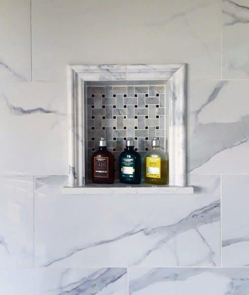 Grey And Black Basketweave Tile Shower Niche Nook Ideas