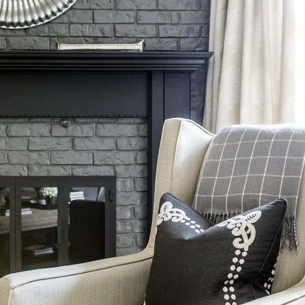 Grey And Black Impressive Painted Fireplace Ideas
