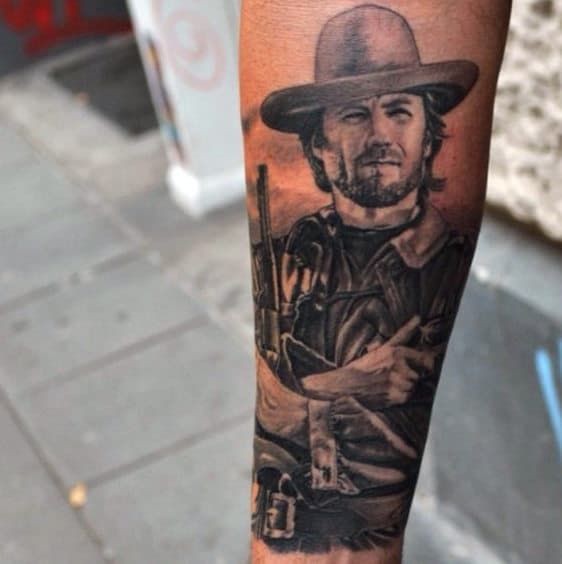 Grey And Black Intricate Tattoo Of Western Man