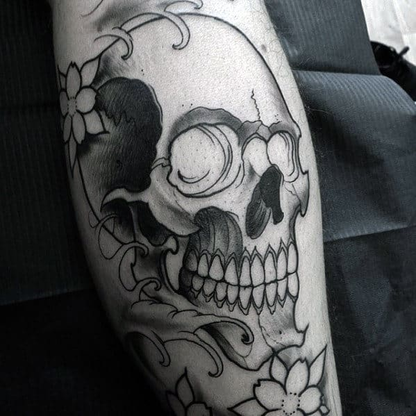 Grey And Black Japanese Skull Male Leg Tattoo