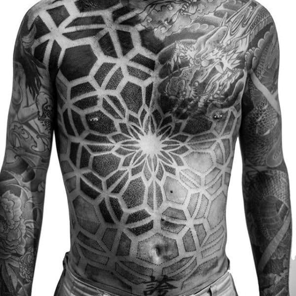 Grey And Black Manly Tattoo Male Torso