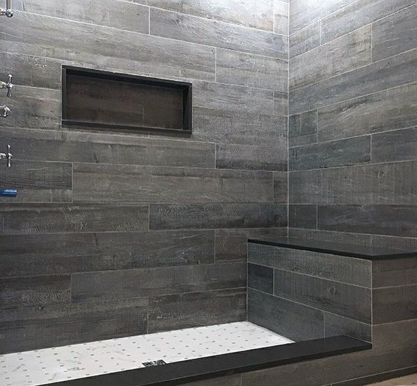 Grey And Black Tile Luxury Bathroom Shower Bench Ideas