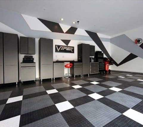 Grey And Black Viper Themed Unique Garage Walls