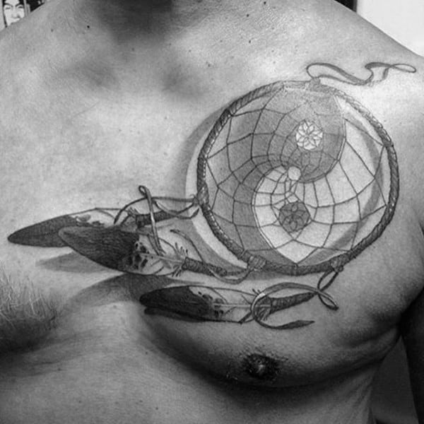 Grey And Black Yin And Yang Dreamcatcher Tattoo For Men On Chest