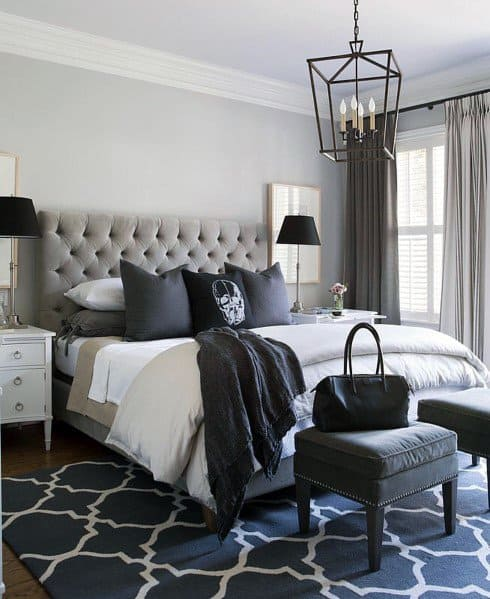 Grey And Blue Master Bedroom Ideas With Traditional Chandelier