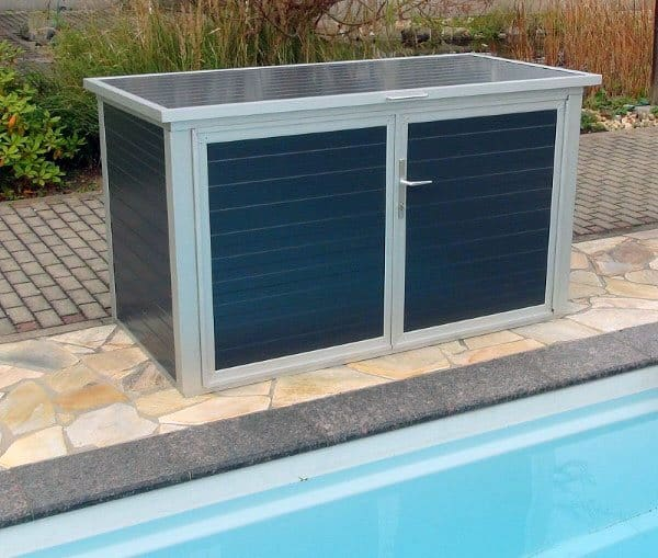 Grey And Blue Steel Pool Equipment Enclosure Ideas