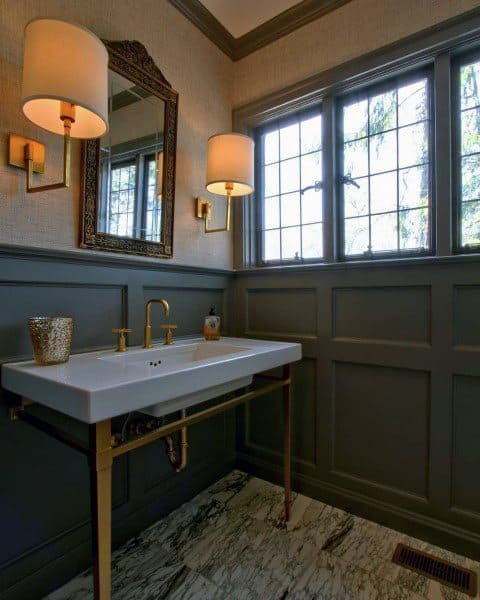 Grey And Gold Half Bath Ideas