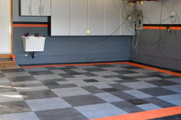 Grey And Orange Harley Davidson Motorcycle Themed Garage Walls Paint
