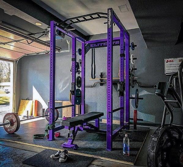 Grey And Purple Garage Gym Ideas