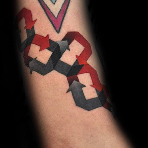 Grey And Red Arrow Chains Awesome Mens Small Forearm Tattoo