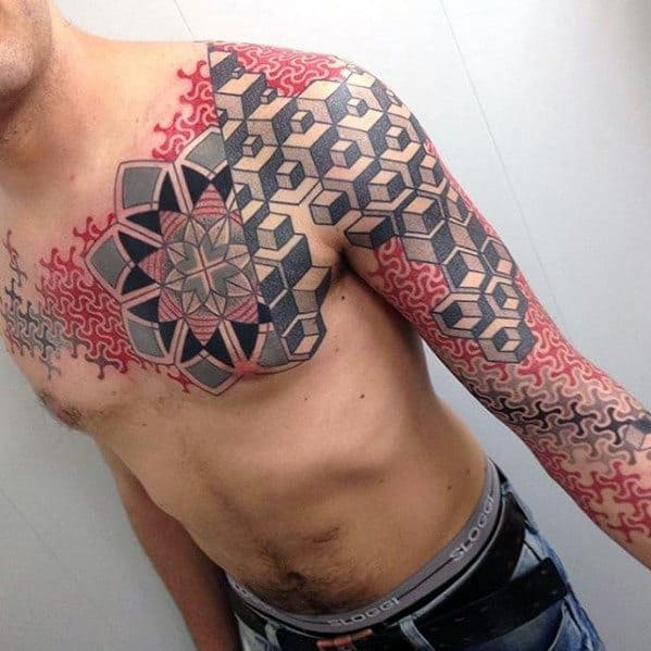 Grey And Red Ink Guys Different Geometric Pattern Full Arm Sleeve Tattoo