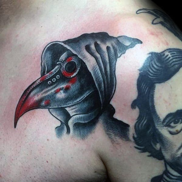 Grey And Red Ink Upper Chest Plague Doctor Male Tattoo Ideas