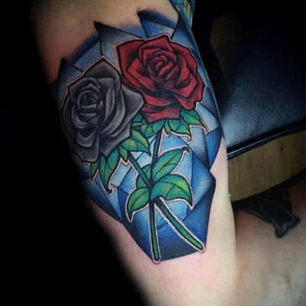 Grey And Red Roses Mens Stained Glass Tattoo