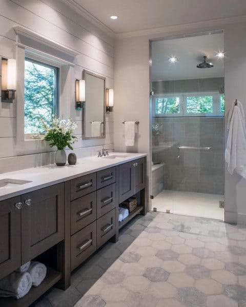Grey And White Cool Master Bathroom With Walk In Shower