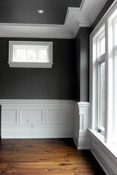 Grey And White Dining Room Crown Molding Ideas