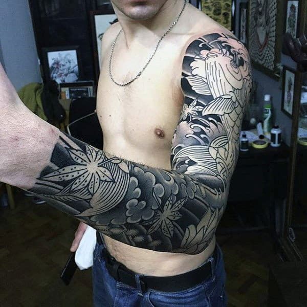 Grey And White Flower Sick Tattoo Mens Sleeve