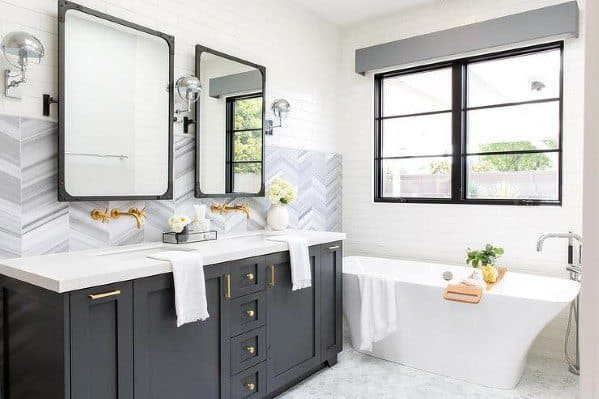 Grey And White Herringbone Tile Bathroom Backsplash Interior Design