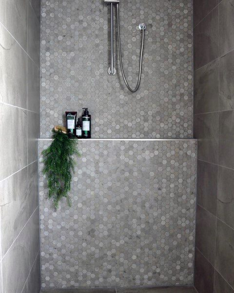 Grey And White Hexagon Bathroom Tile Shower Ideas