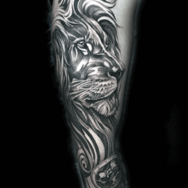 Grey And White Ink Guys Lion Sleeve Tattoos