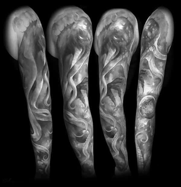 Grey And White Ink Heavily Shaded Cthulhu Full Sleeve Tattoos For Guys