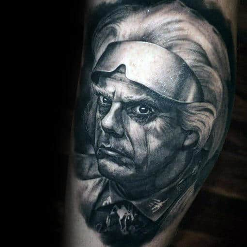 Grey And White Ink Shaded Back To The Future Doc Brown Portrait Male Arm Tattoo Ideas