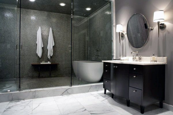 Grey And White Marble Cool Showers Ideas