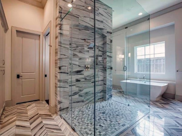 Grey And White Marble Modern Shower Design
