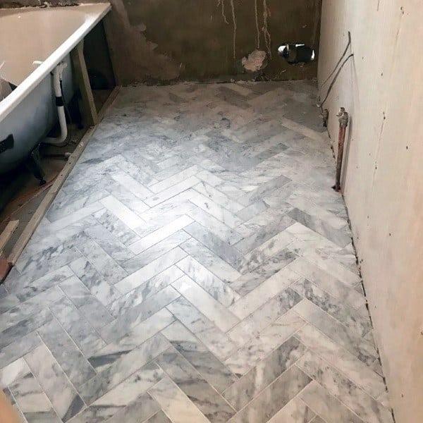 Grey And White Marble Pattern Bathroom Floor Ideas