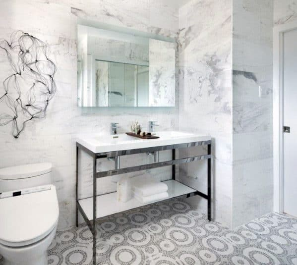 Grey And White Pattern Bathroom Tile Flooring Ideas