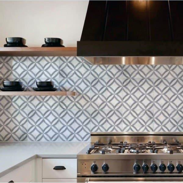 Grey And White Pattern Kitchen Backsplash Design
