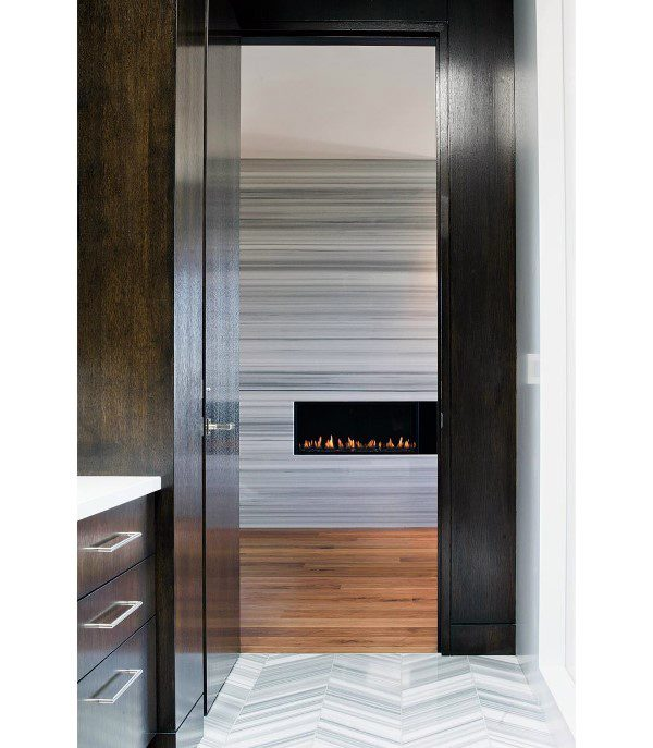 Grey And White Stone Modern Fireplace Design