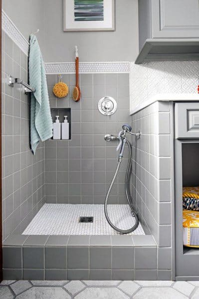 Grey And White Tile Contemporary Home Dog Wash Station Design Idea Inspiration