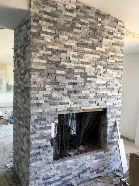 Grey And White Unique Stacked Stone Fireplace Designs
