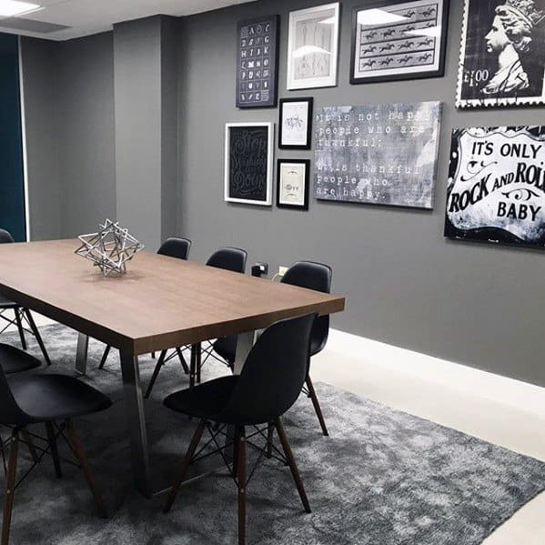 Grey Bachelor Pad Wall With Black And White Art