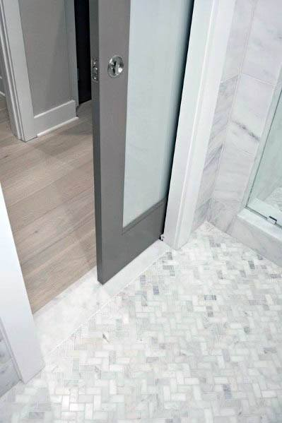 Grey Bathroom Frosted Glass Pocket Door Design Ideas