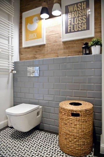 Grey Bathroom Ideas With White Wall Hung Toilet And Wood Top Wall