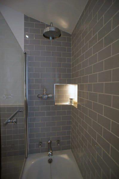 Grey Bathroom Shower And Tub Combo Tile Wall Ideas
