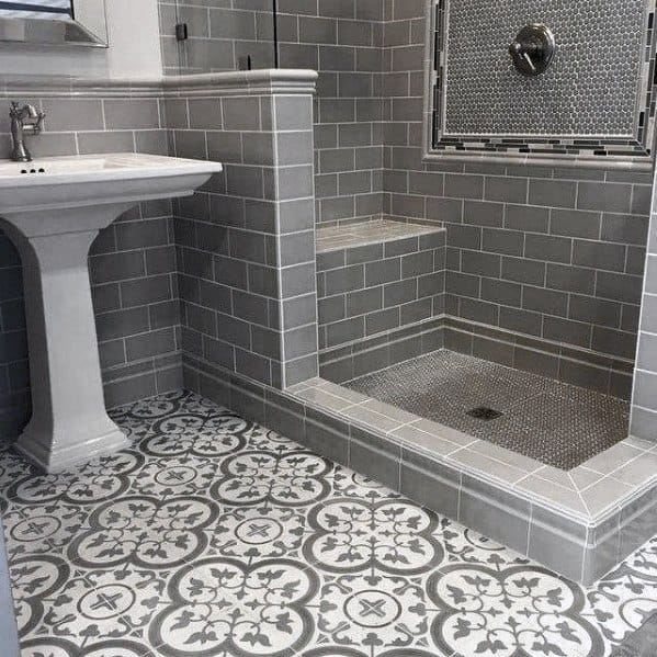 Grey Bathroom Tile Interior Design